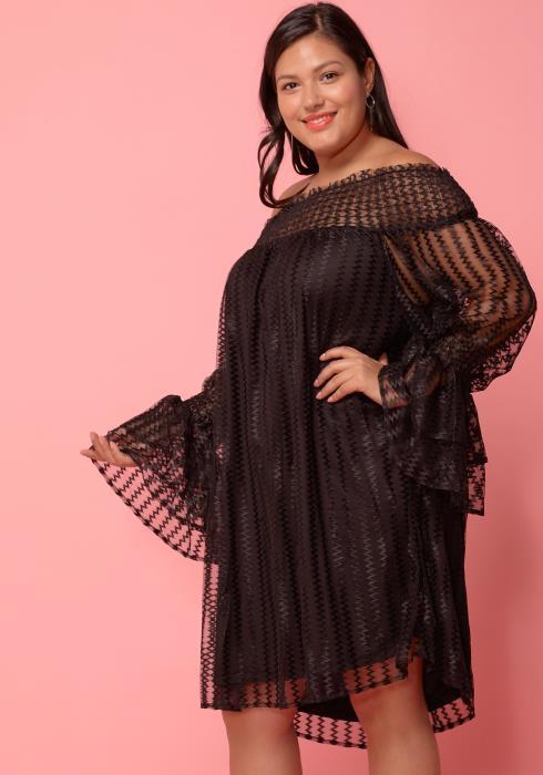 Asoph Plus Size Lace Off Shoulder Tunic Dress