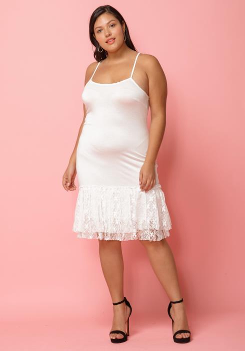 Asoph Plus Size Lace Hem Tank Dress