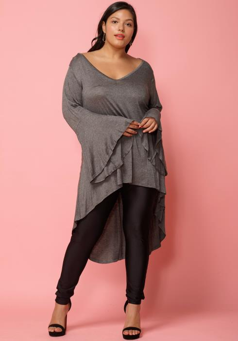 Asoph Plus Size Bell Sleeve V-Neck Tunic Top