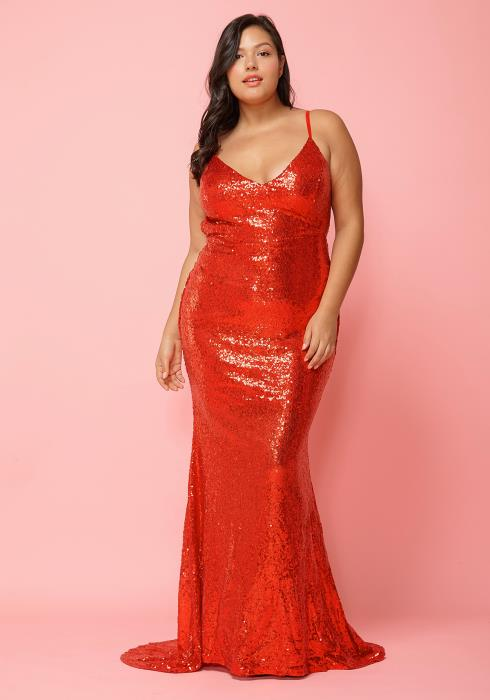 Asoph Plus Size Sequined Mermaid Maxi Evening Gown Dress