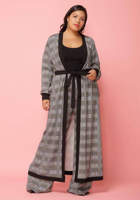 Asoph Plus Size Black White Robe Cardigan & Pants Set