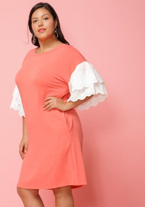 Asoph Plus Size Layered Ruffle Sleeve Shift Dress