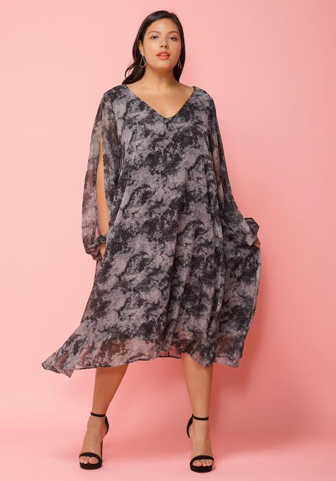 Asoph Plus Size Flowy Printed Tunic Dress