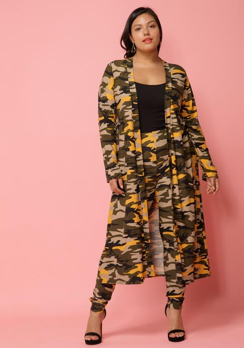 Asoph Plus Size Camo Print Cardigan & Leggings Set