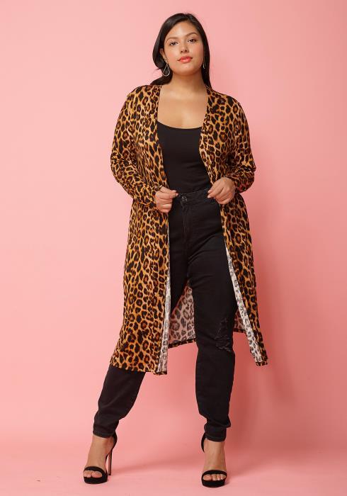 Asoph Plus Size Leopard Print Open Front Long Cardigan