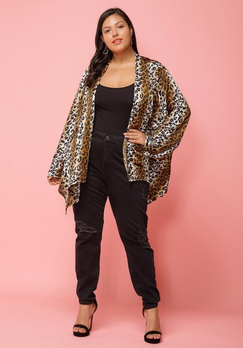 Asoph Plus Size Leopard Print Open Front Cardigan