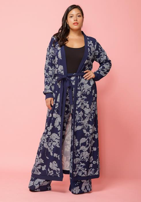 Asoph Plus Size Floral Print Robe Cardigan & Pants Set