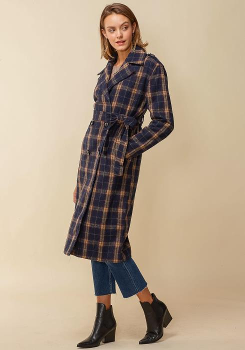 Pleione Womens Plaid Long Coat With Belt
