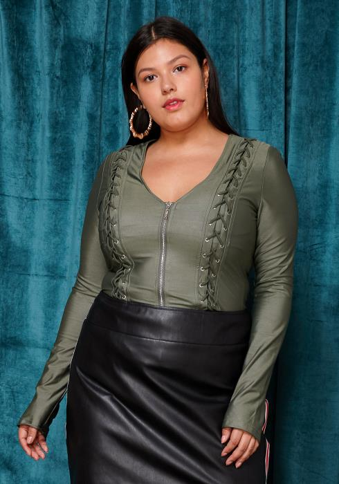 Asoph Plus Size Faux Leather Zip Up Top