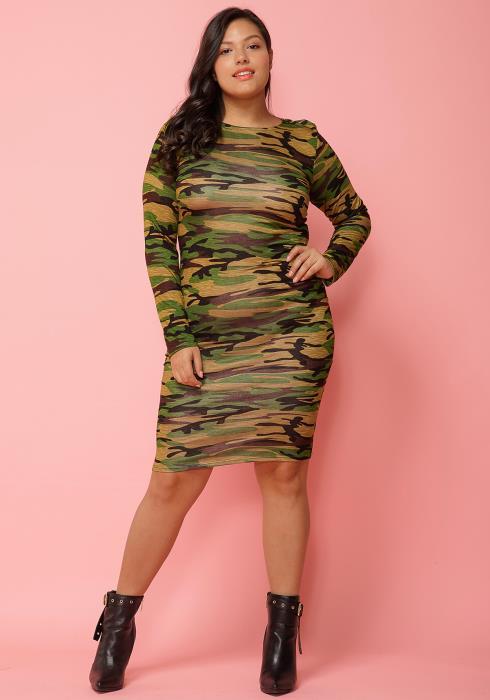 Asoph Plus Size Camo Print Bodycon Midi Dre