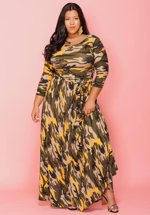 Asoph Plus Size Camo Print 3/4 Sleeve Maxi Dress