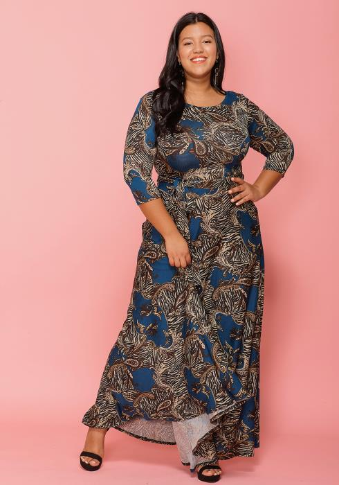 428cef7f724 Asoph Plus Size Multi Color Paisley Print Maxi Dress