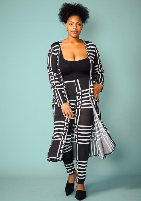 Asoph Plus Size Black White Cardigan & Leggings Set