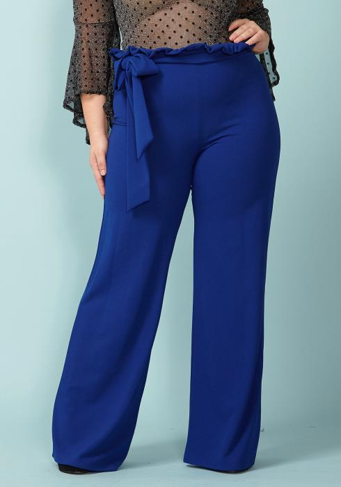Asoph Plus Size Tie Waist Flared Wide Pants