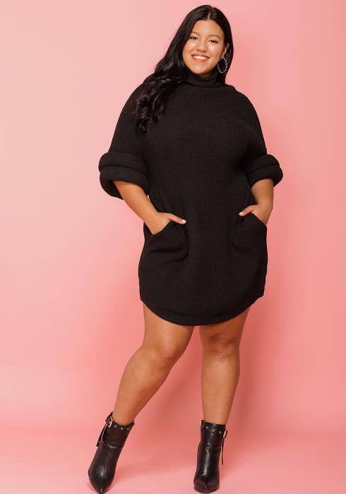Asoph Plus Size Turtle Neck Cozy Sweater Dress