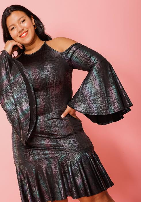 Asoph Plus Size Chrome Cold Shoulder Ruffle Hem Dress