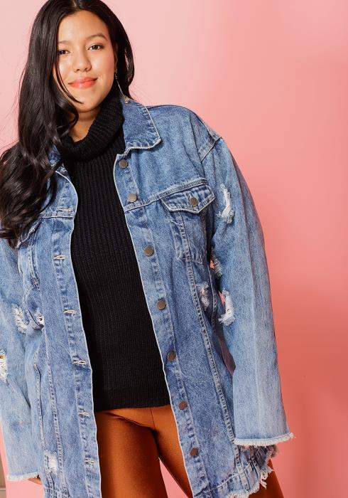 Asoph Plus Size Hear Painted Ripped Denim Jacket