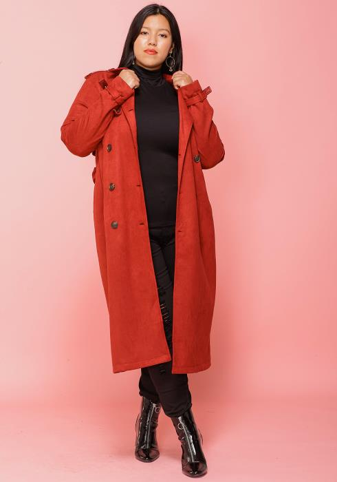 Asoph Plus Size Long Trench Coat