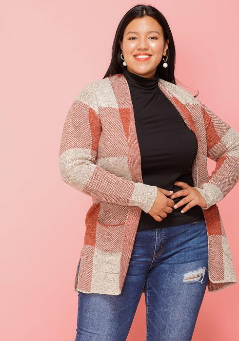 Asoph Plus Size Plaid Open Front Cardigan