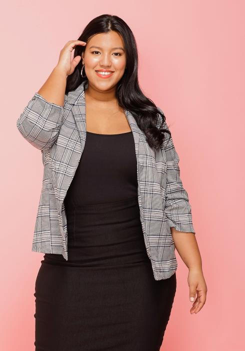 Asoph Plus Size Plaid Blazer