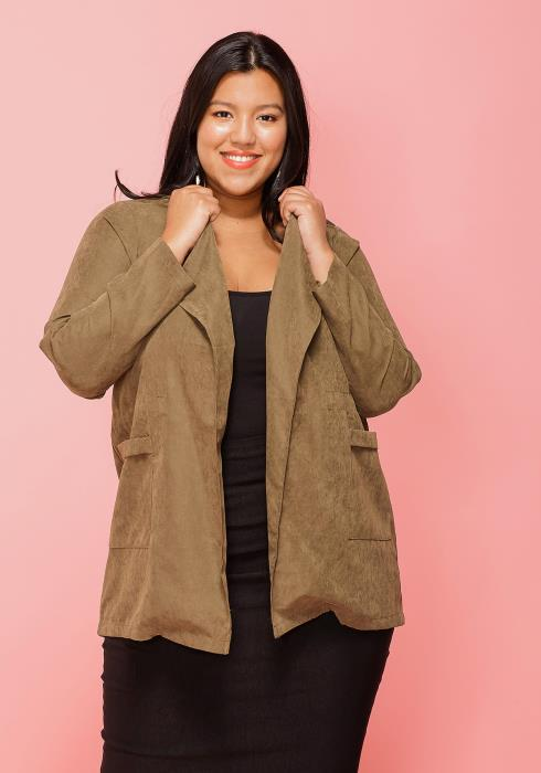 Asoph Plus Size Open Front Jacket With Pockets