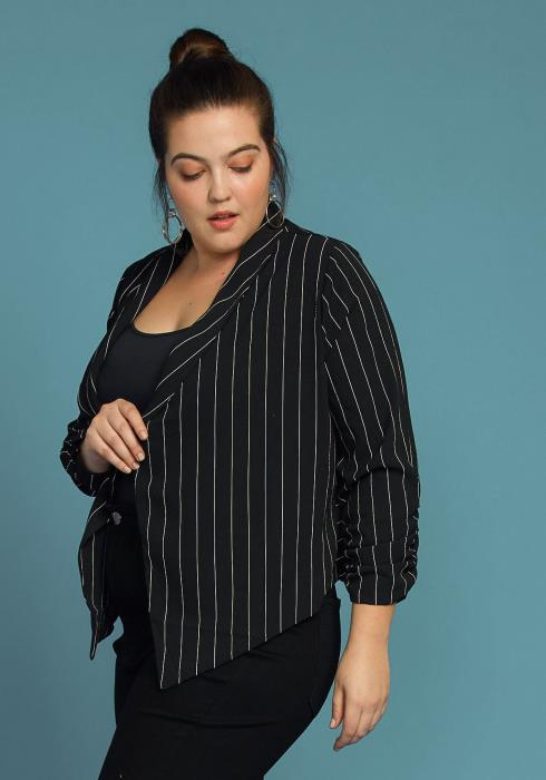 Asoph Plus Size Stripe Open Front Blazer