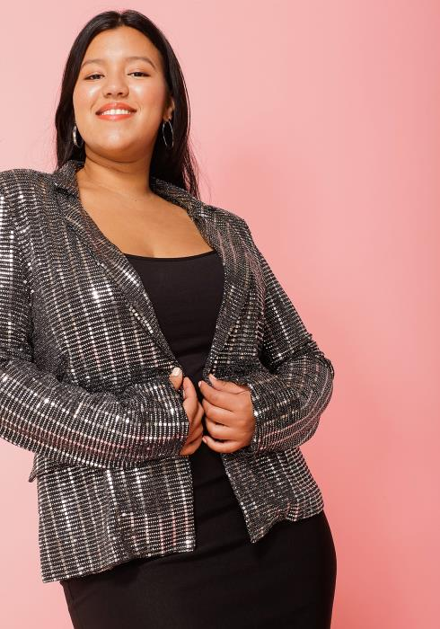 Asoph Plus Size Sequined Metallic Blazer