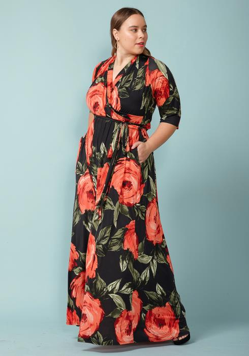 Asoph Plus Size Flower Bloom Maxi Wrap Dress 029a4521f