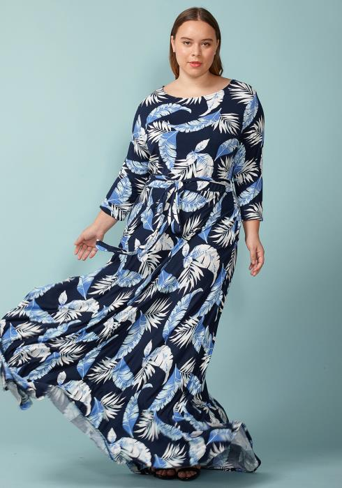 Asoph Plus Size Leaf Printed Boat Neck Maxi Dress