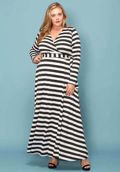 2e739b2dca Asoph Plus Size Stripe Empire Maxi Dress