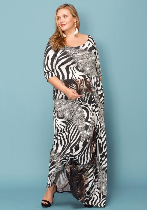 Asoph Plus Size Zebra Print Maxi Dress 6e3356f35