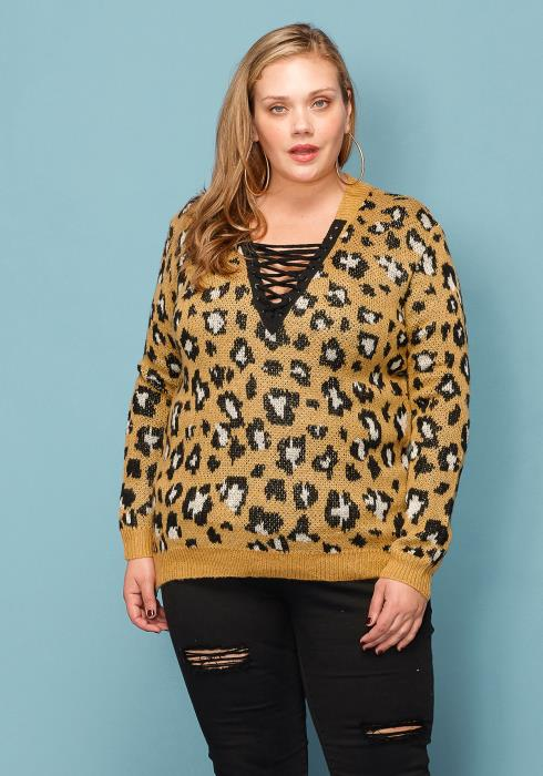Asoph Plus Size Leopard Print Strappy Front Sweater