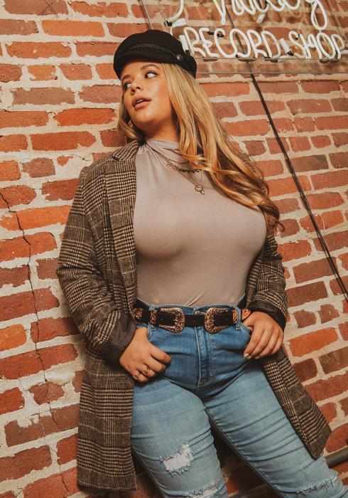 Asoph Plus Size Womens Plaid Notch Collar Blazer Coat