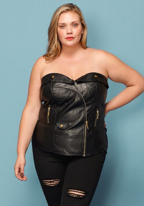 Asoph Plus Size Sweetheart Zip Up PU Corset