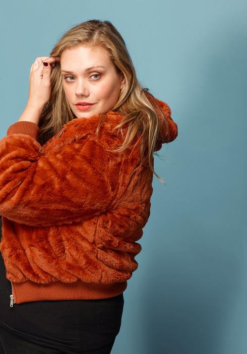 Asoph Plus Size Furry Zip Up Hoodie