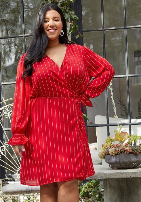 Nurode Plus Size Stripe Wrap Dress