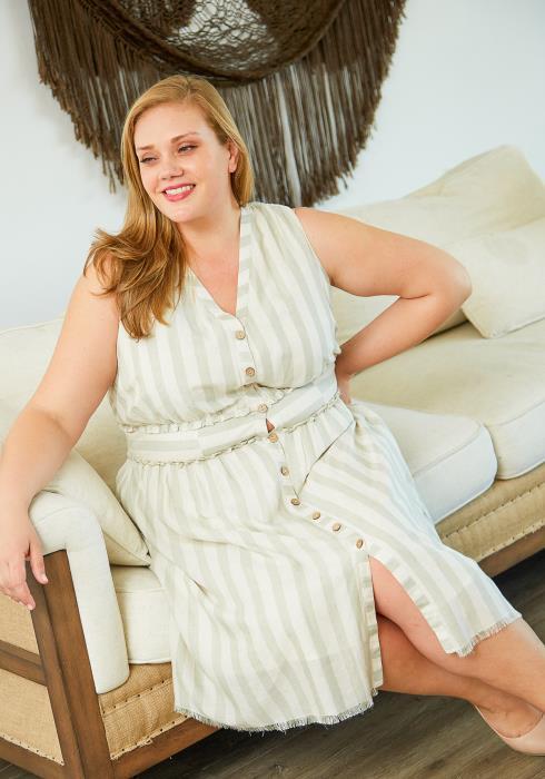 Nurode Plus Size Sleeveless Button Down Stripe Dress