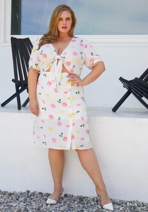 Nurode Plus Size Citrus Print Midi Skirt