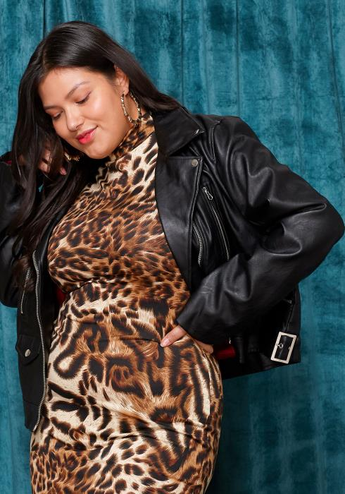 Asoph Plus Size Faux Leather Zip up Biker Jacket