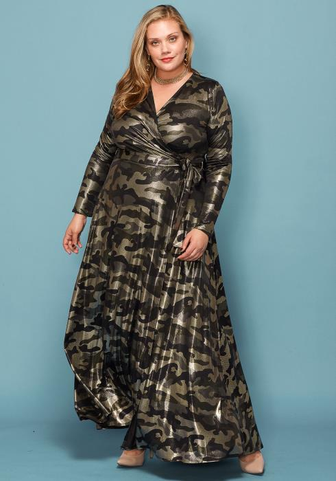 Asoph Plus Size Metallic Camo Print Maxi Wrap Dress