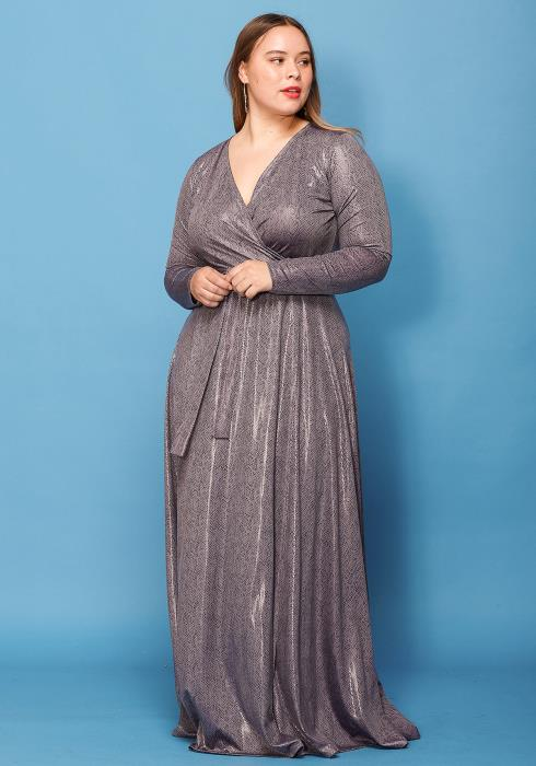 Asoph Plus Size Snake Print Wrap Foiled Maxi Dress