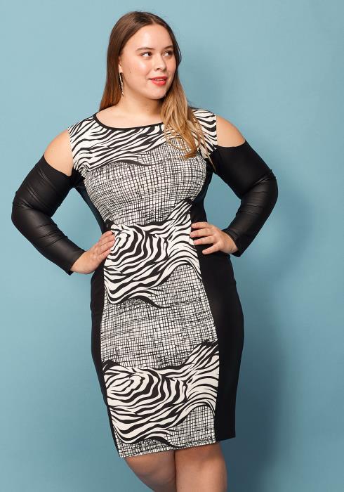 Asoph Plus Size Zebra Print Cold Shoulder Dress