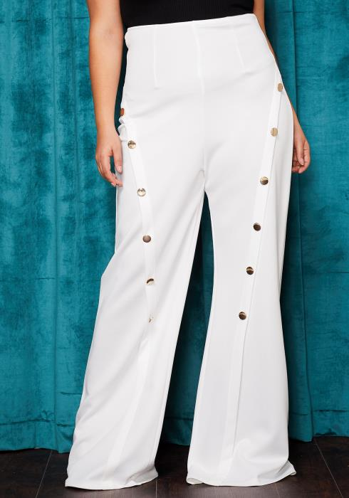 Asoph Plus Size High Waist Button Front Flared Pants