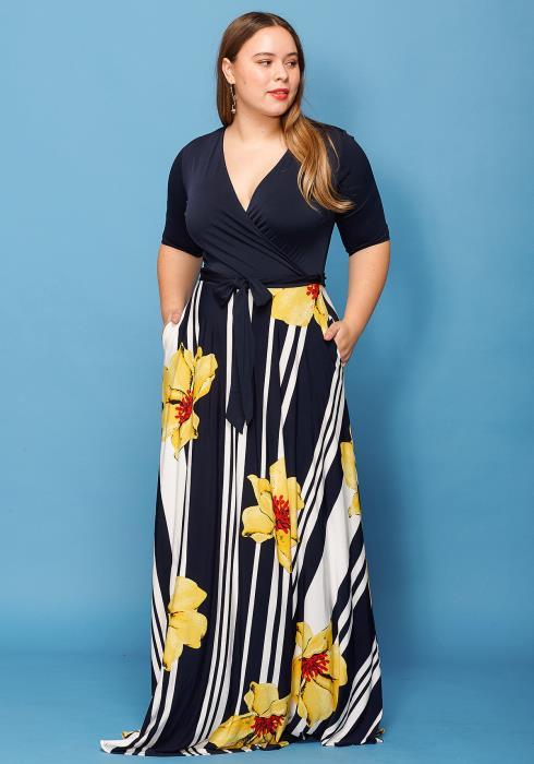 Asoph Plus Size Floral Print Short Sleeve Wrap Dress