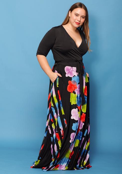 Asoph Plus Size Colorful Floral Maxi Wrap Dress