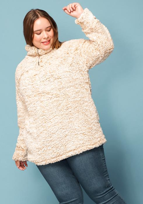 Asoph Plus Size Fluffy Fur Sweatshirt