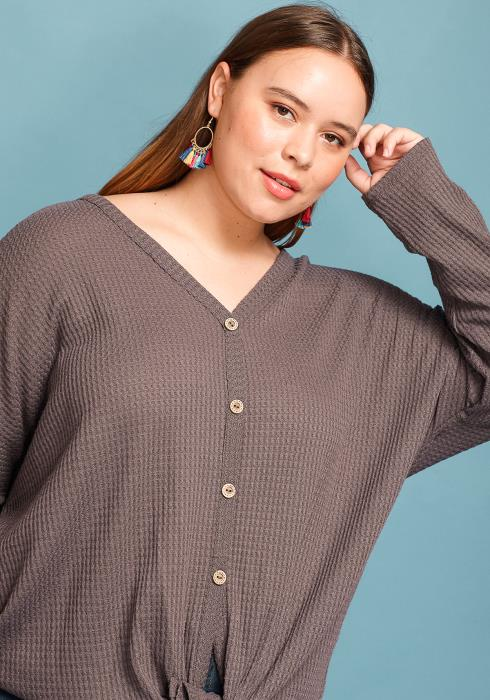 Asoph Plus Size Button Up Tie Hem Sweater