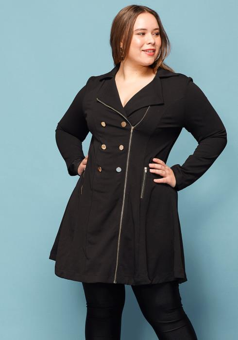 Asoph Plus Size Double Breasted Zip Up Jacket