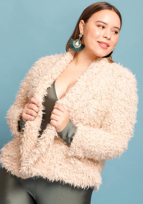 Asoph Plus Size Fur Open Front Coat