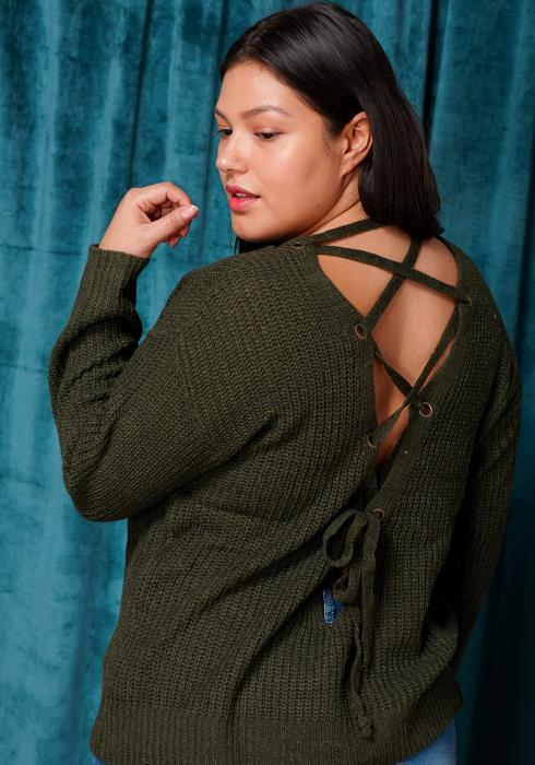 Asoph Plus Size Lace Up Tie Back Sweater